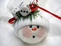 Snowman Ornament made from a standard sized light bulb