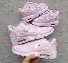 Swarovski Crystal Pink Nike Air Max 90 Girls Grade school Shoes Bling  Sneakers f2f4c4751006