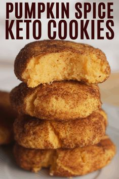 Pumpkin Spice Keto cookies are perfect for fall. These Pumpkin cookies are low c… Pumpkin Spice Keto cookies are perfect for fall. These Pumpkin cookies are low carb and keto! Who doesn't love keto pumpkin spice recipes? Desserts Keto, Slow Cooker Desserts, Keto Friendly Desserts, Keto Snacks, Holiday Desserts, Dessert Recipes, Dessert Food, Recipes Dinner, Keto Sweet Snacks