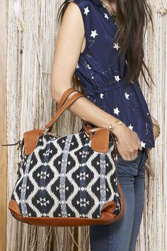 Printed satchel bag with top handles, removable shoulder strap and back zipper compartment