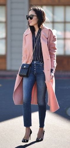 Pink coat over blue striped blouse and jeans. Long Pink Coat f121762a22cc