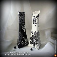 """Вазочки """"Черное и белое"""" - Авторская работа, дизайнерская ваза/бутыль для интерьера. МегаГрад - главный ресурс мастеров и художников"""