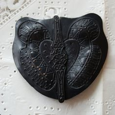 Victorian Mourning Sash Buckle - Japanned Black Enamel Copper Butterfly Angel Wings