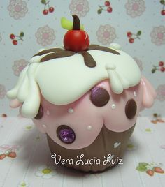 CUP CAKE BISCUIT porcelana fria polymer clay pasta francesa masa flexible fimo figurine modelado modelling cake topper