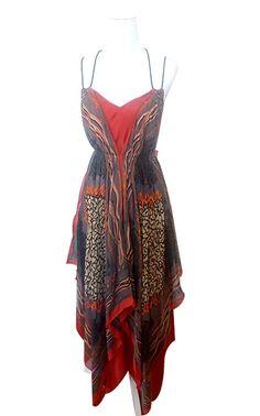 Superbe robe imprimée asymétrique à bretelles fines. Couleurs   Gris et  Brique Taille étiquette   404f7d0b95a