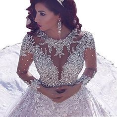 Cheap dress up wedding gowns, Buy Quality dresses confirmation directly from China gown dresses for sale Suppliers: vestido noiva Bling Lace Wedding Dresses 2017 Arabic Wedding Gowns Ball Gown Long Sleeve Beads Long Bridal Gowns robe de mariage Sheer Wedding Dress, Wedding Gowns With Sleeves, Lace Ball Gowns, Luxury Wedding Dress, Long Wedding Dresses, Long Sleeve Wedding, Ball Dresses, Bridal Dresses, Gown Wedding