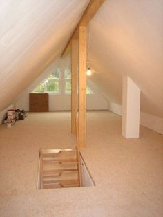 Simple and Ridiculous Tips: Attic Conversion Australia attic before and after products.Attic Window Staircases attic low ceiling home office.Attic Makeover On A Budget. Garage Attic, Attic House, Attic Loft, Loft Room, Attic Ladder, Attic Office, Attic Master Bedroom, Attic Rooms, Attic Spaces