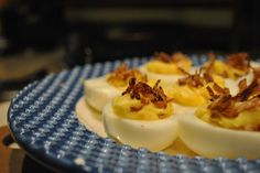 Downton Abbey Menu - Deviled Eggs with  Fried shallot appetizer