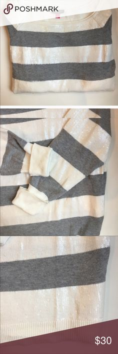 Gorgeous Vince Camuto Sweater Grey & white striped. White is sequenced & just makes this sweater stunning! EUC. NS home, offers welcome. Vince Camuto Sweaters Crew & Scoop Necks
