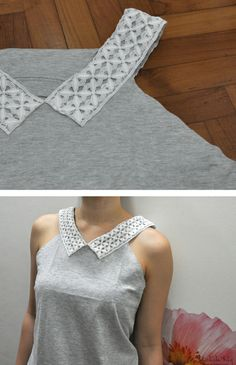 Lace collar on old t-shirt. ReFab Diaries: Repurpose: Tanks, skirts & t-shirts ...