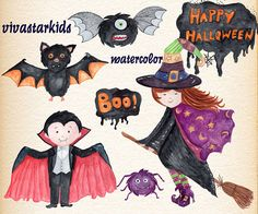 Watercolor Halloween Clipart: HALLOWEEN CLIP ART Halloween kids,Cute Halloween,Bat clipart,Halloween monsters, Cute Witch,Black Cat,Invite Cute clipart, perfect for scrapbooking, invitations and much more! WHAT YOU GET: - 28 hand painted elements in PNG (transparent background) in high quality 300dpi resolution. size approx 6- 10 You can use: - For personal or non-profit use - For Small Commercial Use you have to give credit to me vivastarkids. Credit must be in your listing descriptio...