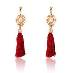 Retro Royal Fashion Rhinestone Crystal Pearl Yarn Ethnic Wire Drop Tassel Earrings Jewelry for Women