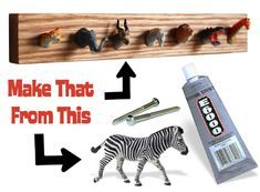 DIY kid's coat rack from plastic animals - for the playroom Kids Coat Rack, Coat Racks, Coat Pegs, Room Deco, Child's Room, Diy Y Manualidades, Wall Racks, Wall Hanger, Plastic Animals