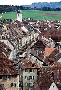 Altstadt von Porrentruy, CH, Switzerland in the canton on Jura.