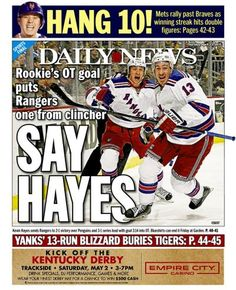 Kevin Hayes makes the back page of the April 23, 2015 edition of the Daily News.