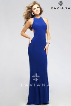 High neck evening dress with back cut-outs and beading