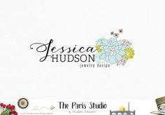 Hand Drawn Style Floral Logo Design for e-commerce website logo, wordpress blog logo, boutique logo, photography branding, wedding logo, website branding design.