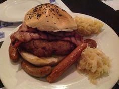 Ultimate Bavarian pork burger & german sausages, Bavarian Bierhaus The Curve.
