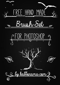 Free #Photoshop #Brushes: Hand drawn ornamental dividers with twigs and leaves