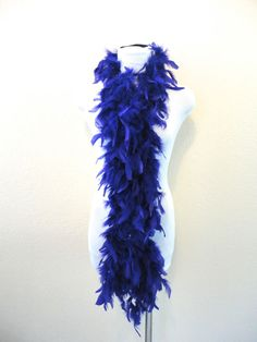 VTG PURPLE LONG Costume Festival Barmaid Saloon Halloween Feather Boa Scarf Wrap #Unknown #Scarfboa