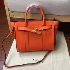 Spring 2017 Cheap Mulberry Zipped Bayswater Tote in Bright Orange Small Classic Grain
