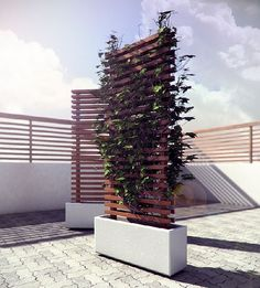 Mobile vine privacy wall, with wheels for hot tub !