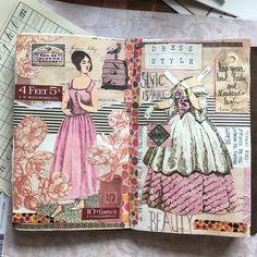 Journal sample, vintage, paper doll and dress Junk Journal, Journal Paper, Art Journal Pages, Art Journals, Art Journal Inspiration, Journal Ideas, Journal Sample, Collage Book, Altered Book Art