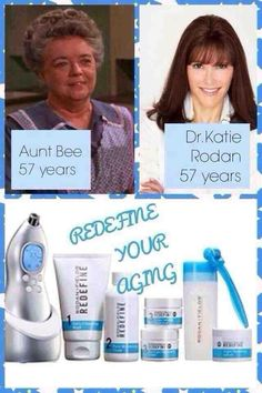 "What a difference in results proper skin care can give you! On the left you have Frances Bavier who played ""Aunt Bee"" on the popular Andy Griffith Show! On the right, you have Dr. Katie Rodan, one of our dermatologists...(Both were 57 in this picture)! Dr. Rodan calls our Redefine Regimen with the Amp MD roller and the Night Renewing Serum...SPANX FOR YOU FACE!  Penny Pigford - Consultant Rodan & Fields Dermatology (910)540-3175"