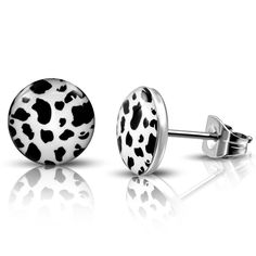 Stainless Steel 3 Color with Black /& Violet Leopard Print Acrylic Round Circle Stud Earrings pair
