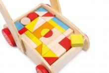 """Speelgoed Blokkenkar """"Looptrainer"""" -Grove motoriek, -Creativiteit, -Zelfstandigheid, -Ruimtelijk inzicht"""