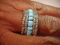 Turquoise and Silver Beaded Memory Wire Ring by gwbdesign on Etsy, $17.99