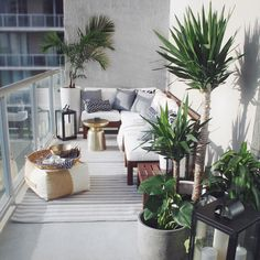 Balcony inspiration - love the tray and natural high square pouf