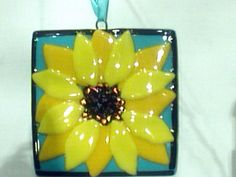 Sunflower in Fused Glass on Etsy, £16.02