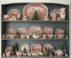 kitchen hutch filled with a collection of Pink Tower transferware by Spode circa Christmas Dishes, Christmas Kitchen, Country Christmas, Christmas Home, Vintage Christmas, Christmas Items, Antique Dishes, Vintage Dishes, Vintage China