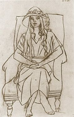 Pablo Picasso - Woman with hat sitting in a chair, 1920 Pablo Picasso Drawings, Picasso Sketches, Picasso Portraits, Picasso Art, Drawing Sketches, Art Drawings, Georges Braque, Pierre Auguste Renoir, Henri Matisse