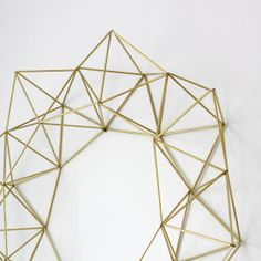 Large Brass Himmeli Wreath / Modern Geometric Wall Sculpture; detail, brass straw and string