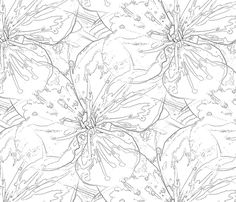 Blossom in Black and White fabric by miart on Spoonflower - custom fabric
