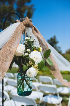 Love the mason jar for flowers. DIY wedding ceremony decorations from Kirsten & Christian's rustic, DIY small budget Virginia wedding. Images by Porter Watkins Photography. Fall Wedding, Diy Wedding, Rustic Wedding, Wedding Flowers, Dream Wedding, Wedding Images, Wedding Stuff, Wedding Ideas, Do It Yourself Wedding