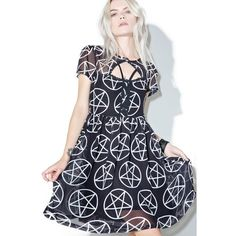 Killstar Hayley Hex Dress ($65) ❤ liked on Polyvore featuring dresses, doll dress, baby doll dress, white babydoll dress, cut out dresses and white day dress