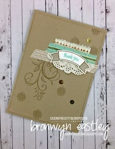handmade card from addINKtive designs ... kraft ... montage in vanilla and mint .. tone on tone background stamping ... edgy  artsy look ... Stampin' Up!