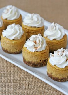 Summary: Bite-sized cheesecakes full of Autumn flavors, pumpkin and cinnamon.  Recipe: Mini Pumpkin Cheesecakes with Cinnamon Whipped Cream Ingredients For the crust: 1/2 cup gingersnap crumbs 1/2 teaspoon ground cinnamon 2 tablespoons unsalted butter, melted 2 tablespoons sugar For the filling: 1 cup pumpkin puree 1 teaspoon ground cinnamon 1/4 teaspoon ground ginger 1 … … Continue reading →