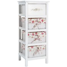 Shabby Chic Cabinet Chest of Drawers Storage Unit Wicker Baskets Country Style