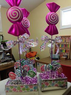 New birthday party ideas diy candy land Ideas Candy Theme Birthday Party, Candy Land Theme, Candy Party, Candy Centerpieces, Candy Decorations, Outdoor Christmas Decorations, Quince Decorations, Wedding Centerpieces, Quinceanera Centerpieces