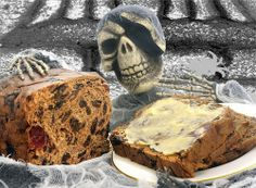 "Click on the photo for a recipe for Barmbrack. -- ""Barmbrack is the centre of an Irish Halloween custom. The Halloween Brack traditionally contained various objects baked into the bread and was used as a sort of fortune-telling game."" [http://en.wikipedia.org/wiki/Barmbrack]"