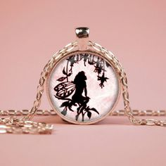 Pink Fairy Silhouette Pendant Necklace Glass by RiverwalkDesigns, $7.95