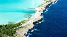 THE GLASS WINDOW BRIDGE ELEUTHERA, BAHAMAS. Where the clam Caribbean ocean and the choppy Atlantic meet. Also know as the narrowest place in the world.