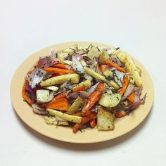 """Final preparations: Roasted root vegetables with rosemary, olive oil and salt & pepper. """"Like"""" if you approve of this side dish. #yeg #yegfood #hope #instagram"""