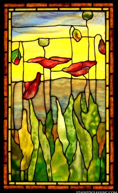"""Poppies Tiffany"" Stained Glass Window"