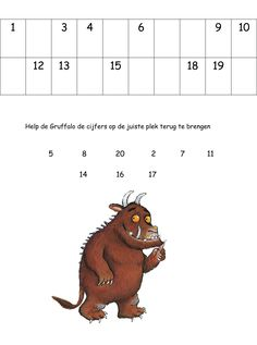 Werkblad cijfers: De Gruffalo Gruffalo Party, The Gruffalo, Monster Co, Room On The Broom, Story Sack, Math Numbers, Conte, Birthday Fun, Pre School
