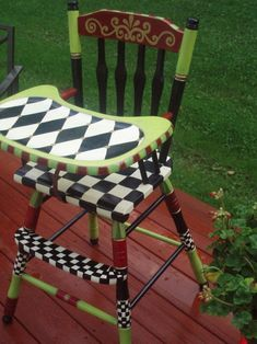 Custom  Hand Painted Vintage High Chair by paintingbymichele by lucia